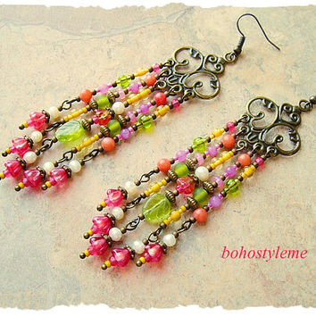 Boho Nature Inspired Earrings, Long Colorful Chandelier Earrings, Bohemian Jewelry, bohostyleme, Kaye Kraus
