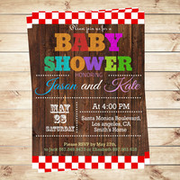 Rustic Couples Baby Shower Invitations and Announcements, Baby shower invites neutral, unique baby shower invitations, Art Party Invitation