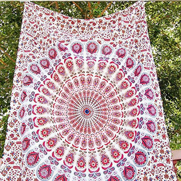 NEW Pink Peacock Hippie Tapestry, Hippy Mandala Bohemian Tapestries, Indian Dorm Decor, Psychedelic Tapestry Wall Hanging Ethnic Decorative (Pink Color)