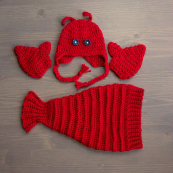 Crochet Lobster Costume, Crocheted Baby Hat, Crochet Baby Hat, Crochet Set, Baby Shower Gift, Newborn Photo Prop, Lobster Hat, Lobster Tail