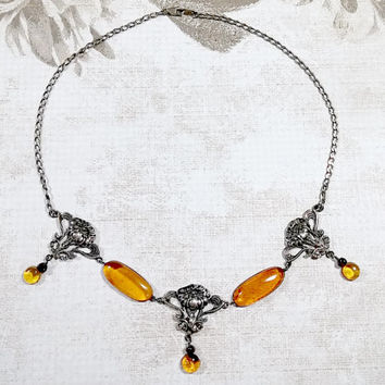 Vintage Mexico Sterling Repousse Amber Art Nouveau Style Necklace Golden Amber Cherry Amber Accent Beads Lovely and Special Some Oxidation