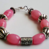 Pink Bead Art Glass Necklace, Bracelet & Earrings Set