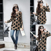 Korean Fashion Knitted Long Shirt Slouchy T-shirt Sexy Women Polka Dot Pullover Casual Tops G0744|26201 One Size (Color: Coffee)