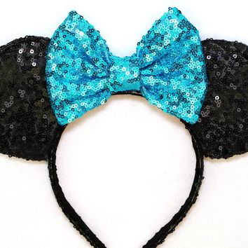 Black Sequin Ears and Turquoise Blue Bow