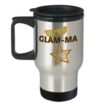 Glam-Ma Travel Coffee Cup Mug Gifts For Grandma Stainless Steel Gifts For Women Friends Funny Travel Mugs