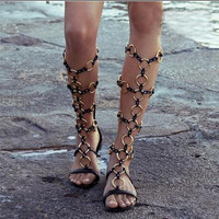 2016 Summer Women Sandal Sexy Cut-Outs Long Boots Fashion Circle Metal Flat Sandal Leisure Gladiator Sandals Women's Shoes C167