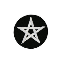 Pentagram Iron On Patch Embroidery Sewing DIY Customise Denim Cotton