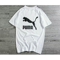 PUMA string couples trend black and white color cotton short sleeve F-XMCP-YC White