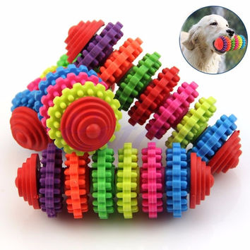 Colorful Rubber Dog Toy Great for Puppy's Teething