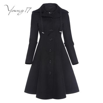 asymmetric black coat stand collar women overcoat elegant single-breasted button long sleeve slim