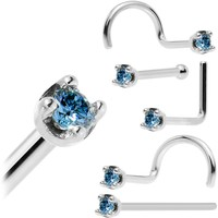 Solid 18KT White Gold 1.5mm Genuine Blue Diamond Nose Ring