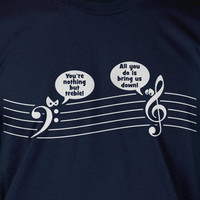 Treble Down Music T-Shirt Tee Shirt T Shirt Mens Ladies Womens Youth Kids Funny Geek