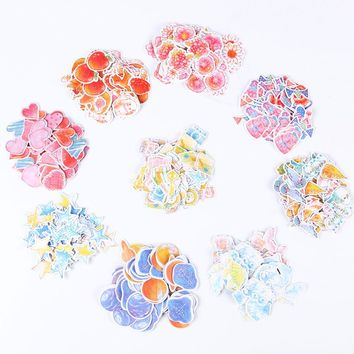 210PCS/3sets Kawaii Watercolor Paper Sticker Creative Romantic Love Gift Diary Decor Scrapbooking Stationery Stickers Gift
