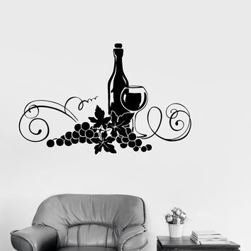 Vinyl Decal Wine Alcohol Drink Kitchen Decor Restaurant Wall Stickers Unique Gift (ig2616)