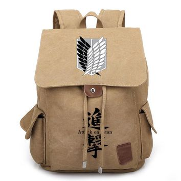Cool Attack on Titan Anime Backpack  School Bags for Teenagers Boys Girls Canvas Backpack Drawstring Travel Rucksack mochilas AT_90_11