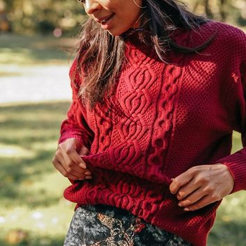UO Austin Mock-Neck Cable Knit Sweater | Urban Outfitters