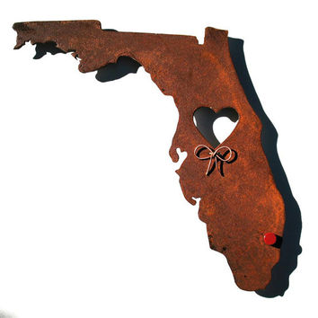 Florida State Metal Wall Art Sculpture - State Sculpture - State Silhouette - State Decor - Rustic - Rusty