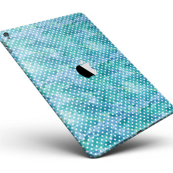 """White Polka Dots over Blue Watercolor V2 Full Body Skin for the iPad Pro (12.9"""" or 9.7"""" available)"""