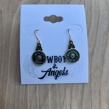 PATINA WINCHESTER BULLET FISH HOOK EARRING