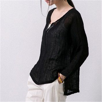 DKF4S Johnature 2017 New Spring Summer Cotton V-Neck Long-Sleeved Top Shirt Women Asymmetric Sweep Vintage Loose Linen Shirt