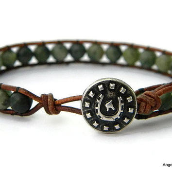 Mens Bracelet Leather Wrap Bracelet Horseshoe Single Wrap
