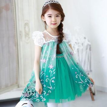 2017 Summer European & American style Princess lace temperament Elsa dresses kids girls clothing Aged 2-7T