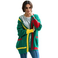 FeiTong Sweaters Women Winter 2018 Jumper Sweater Women Christmas Open Front Solid Pocket Cardigan Long Sleeve Sweater Female