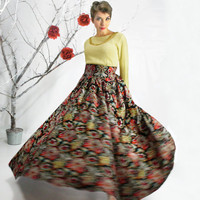 Maxi skirt - Circle Skirt, Floor Length Cotton Skirt, Full Maxi Skirt, High-Waisted skirt, Floral skirt, Plus size Maxi skirt, Long skirt
