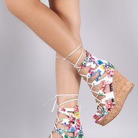 Floral Zigzag Lace Up Cork Wedge