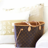 LV Women Shopping Leather Tote Handbag Shoulder Bag  Two piece