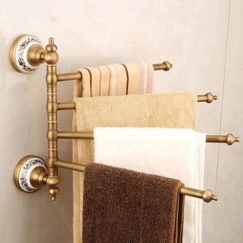 FarenHot Fine Copper and Porcelain Series, Retro Antique Brass Towel Racks Holder.