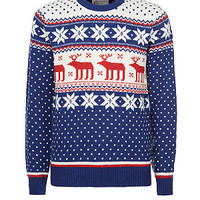 Blue White and Red Reindeer Fairisle Christmas Jumper