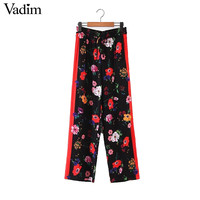 Vadim women vintage side stripe floral wide leg pants drawstring tie pockets loose ladies casual trousers pantalones mujer KZ952