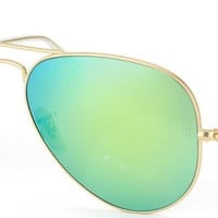 Ray Ban Aviator Classic RB 3025 112/19 Matte Gold Sunglasses Green Flash 62mm