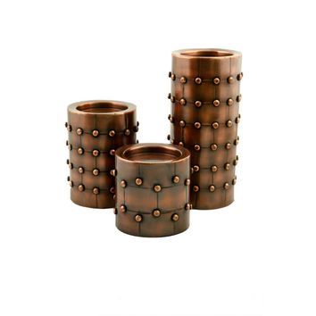 Bronze Finish Metal Candleholder/Candlesticks With Broad Base, Set of 3 By Benzara