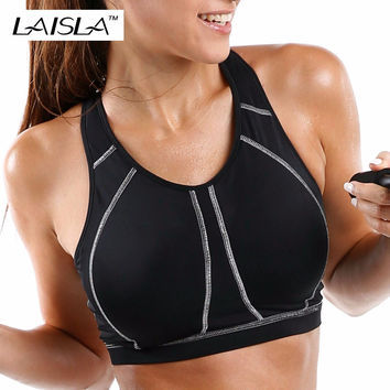 Quality Full Cup Level 3 High Control Strong Sports Bra Solid Black White