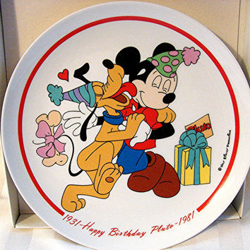 Vintage Walt Disney Plate Limited Edition 1981 Pluto's Birthday Wall Decor Plate only 7,500 made
