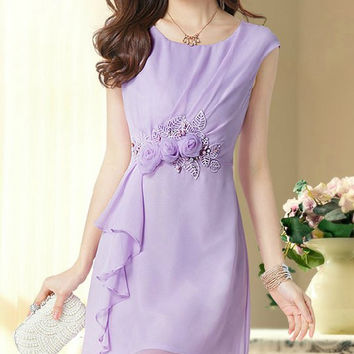 Violet Sleeveless Mini Chiffon Dress with Flower