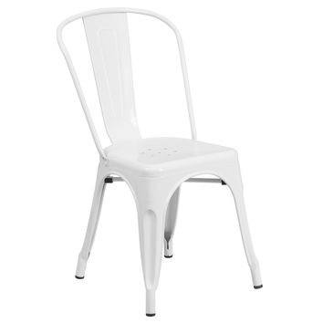 Flash Furniture White Metal Indoor-Outdoor Stackable Chair [CH-31230-WH-GG]