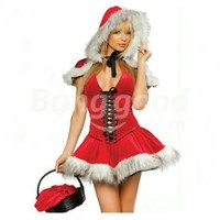 Sexy Hoodwinked Costume Hoodie Dress Christmas Outfit 5077 Free Shipping!  - US$21.99