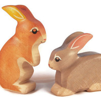 Toy Rabbit wooden brown colourful standing Easter bunny Size: 4,5 x 8,5 x 2,0 cm (bxhxs) approx. 25,5 g