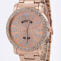Rose Gold Crystal Bezel Watch