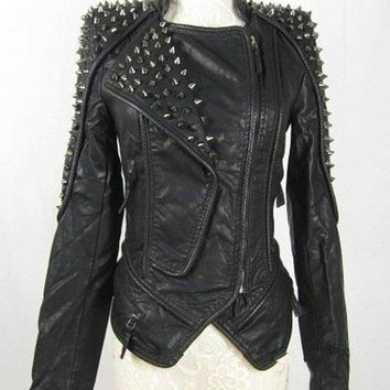 Heavy Metal Rocker Goth Black Leather Spike Rivet Stud Jacket