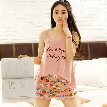 2017 Summer Spaghetti Strap Cotton Pajamas Set Letter Print Sleeveless Indoor Clothing Home Clothes For Girls Sleepwear Night