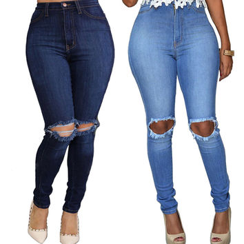 Women Sexy Denim Skinny Ripped Pants High Waist Stretch Jeans Slim Pencil Trousers