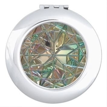 Diamond like, stained glass look compact makeup mirror