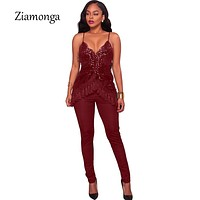 Ziamonga Popular Sequined Jumpsuit Women Rompers Summer Glitter Strap Tassel Sequin Sexy Party Jumpsuit Female Overalls Clubwear