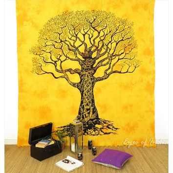 Yellow Queen Bedding Sheet Bedspread Tree Decorative Tapestry