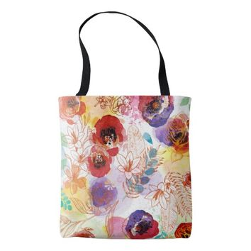 Watercolor Spring Flowers Background Tote Bag