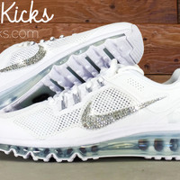 Nike Air Max 360 Running Shoes By Glitter Kicks - Customized With Swarovski Crystal Rhinestones - White/White